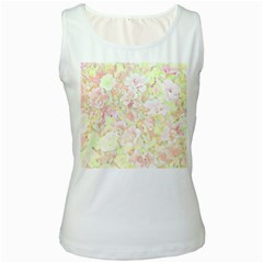 Lovely Floral 36c Women s White Tank Top