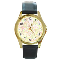 Lovely Floral 36c Round Gold Metal Watch