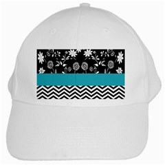 Flowers Turquoise Pattern Floral White Cap