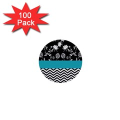 Flowers Turquoise Pattern Floral 1  Mini Buttons (100 Pack)