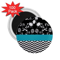 Flowers Turquoise Pattern Floral 2.25  Magnets (100 pack)