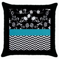 Flowers Turquoise Pattern Floral Throw Pillow Case (black)