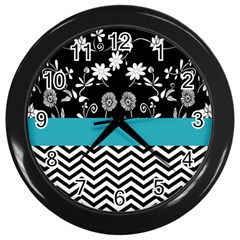 Flowers Turquoise Pattern Floral Wall Clocks (Black)
