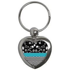 Flowers Turquoise Pattern Floral Key Chains (heart)