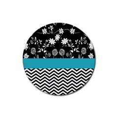 Flowers Turquoise Pattern Floral Rubber Round Coaster (4 pack)