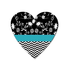 Flowers Turquoise Pattern Floral Heart Magnet