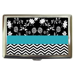 Flowers Turquoise Pattern Floral Cigarette Money Cases