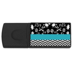 Flowers Turquoise Pattern Floral USB Flash Drive Rectangular (1 GB)