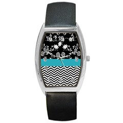Flowers Turquoise Pattern Floral Barrel Style Metal Watch
