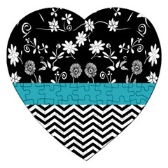 Flowers Turquoise Pattern Floral Jigsaw Puzzle (heart)