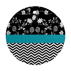 Flowers Turquoise Pattern Floral Round Ornament (Two Sides)