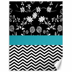 Flowers Turquoise Pattern Floral Canvas 12  X 16
