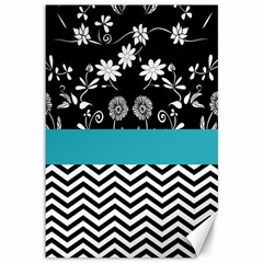 Flowers Turquoise Pattern Floral Canvas 12  X 18