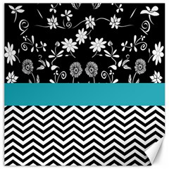 Flowers Turquoise Pattern Floral Canvas 16  x 16