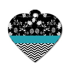 Flowers Turquoise Pattern Floral Dog Tag Heart (two Sides)