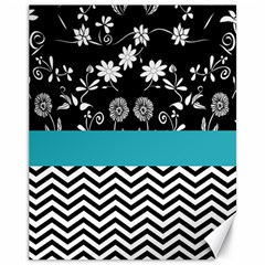 Flowers Turquoise Pattern Floral Canvas 11  X 14