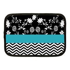 Flowers Turquoise Pattern Floral Netbook Case (medium)