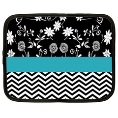 Flowers Turquoise Pattern Floral Netbook Case (large)