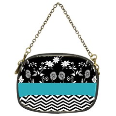 Flowers Turquoise Pattern Floral Chain Purses (two Sides)