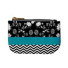 Flowers Turquoise Pattern Floral Mini Coin Purses