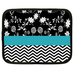 Flowers Turquoise Pattern Floral Netbook Case (xxl)