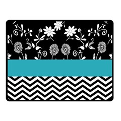Flowers Turquoise Pattern Floral Fleece Blanket (Small)