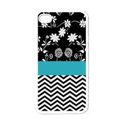 Flowers Turquoise Pattern Floral Apple Iphone 4 Case (white)