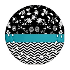 Flowers Turquoise Pattern Floral Ornament (round Filigree)