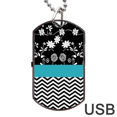 Flowers Turquoise Pattern Floral Dog Tag Usb Flash (two Sides)