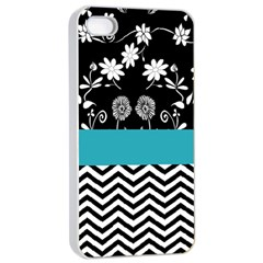 Flowers Turquoise Pattern Floral Apple iPhone 4/4s Seamless Case (White)