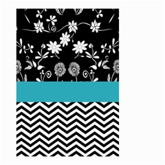 Flowers Turquoise Pattern Floral Small Garden Flag (two Sides)