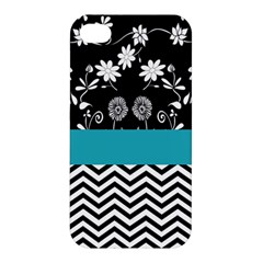 Flowers Turquoise Pattern Floral Apple Iphone 4/4s Premium Hardshell Case
