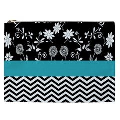 Flowers Turquoise Pattern Floral Cosmetic Bag (xxl)