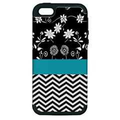 Flowers Turquoise Pattern Floral Apple Iphone 5 Hardshell Case (pc+silicone)