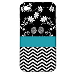 Flowers Turquoise Pattern Floral Apple iPhone 4/4S Hardshell Case (PC+Silicone)