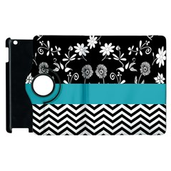 Flowers Turquoise Pattern Floral Apple iPad 2 Flip 360 Case