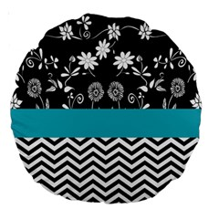 Flowers Turquoise Pattern Floral Large 18  Premium Round Cushions