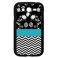 Flowers Turquoise Pattern Floral Samsung Galaxy Grand Duos I9082 Case (black)