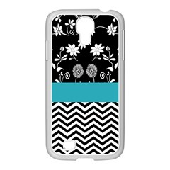 Flowers Turquoise Pattern Floral Samsung GALAXY S4 I9500/ I9505 Case (White)