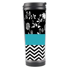 Flowers Turquoise Pattern Floral Travel Tumbler