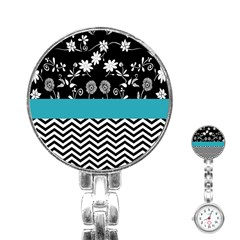 Flowers Turquoise Pattern Floral Stainless Steel Nurses Watch