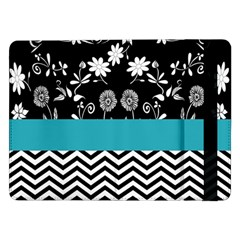 Flowers Turquoise Pattern Floral Samsung Galaxy Tab Pro 12 2  Flip Case