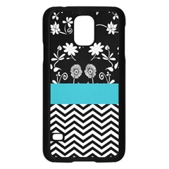 Flowers Turquoise Pattern Floral Samsung Galaxy S5 Case (black)