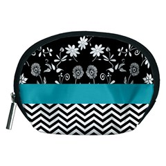 Flowers Turquoise Pattern Floral Accessory Pouches (medium)