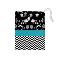 Flowers Turquoise Pattern Floral Drawstring Pouches (medium)