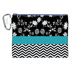 Flowers Turquoise Pattern Floral Canvas Cosmetic Bag (xxl)