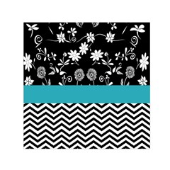 Flowers Turquoise Pattern Floral Small Satin Scarf (Square)