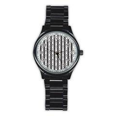 Pattern Background Texture Black Stainless Steel Round Watch