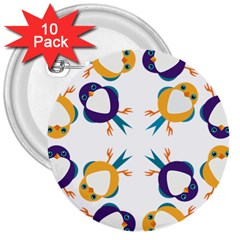 Pattern Circular Birds 3  Buttons (10 pack)
