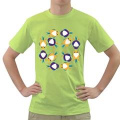 Pattern Circular Birds Green T-Shirt